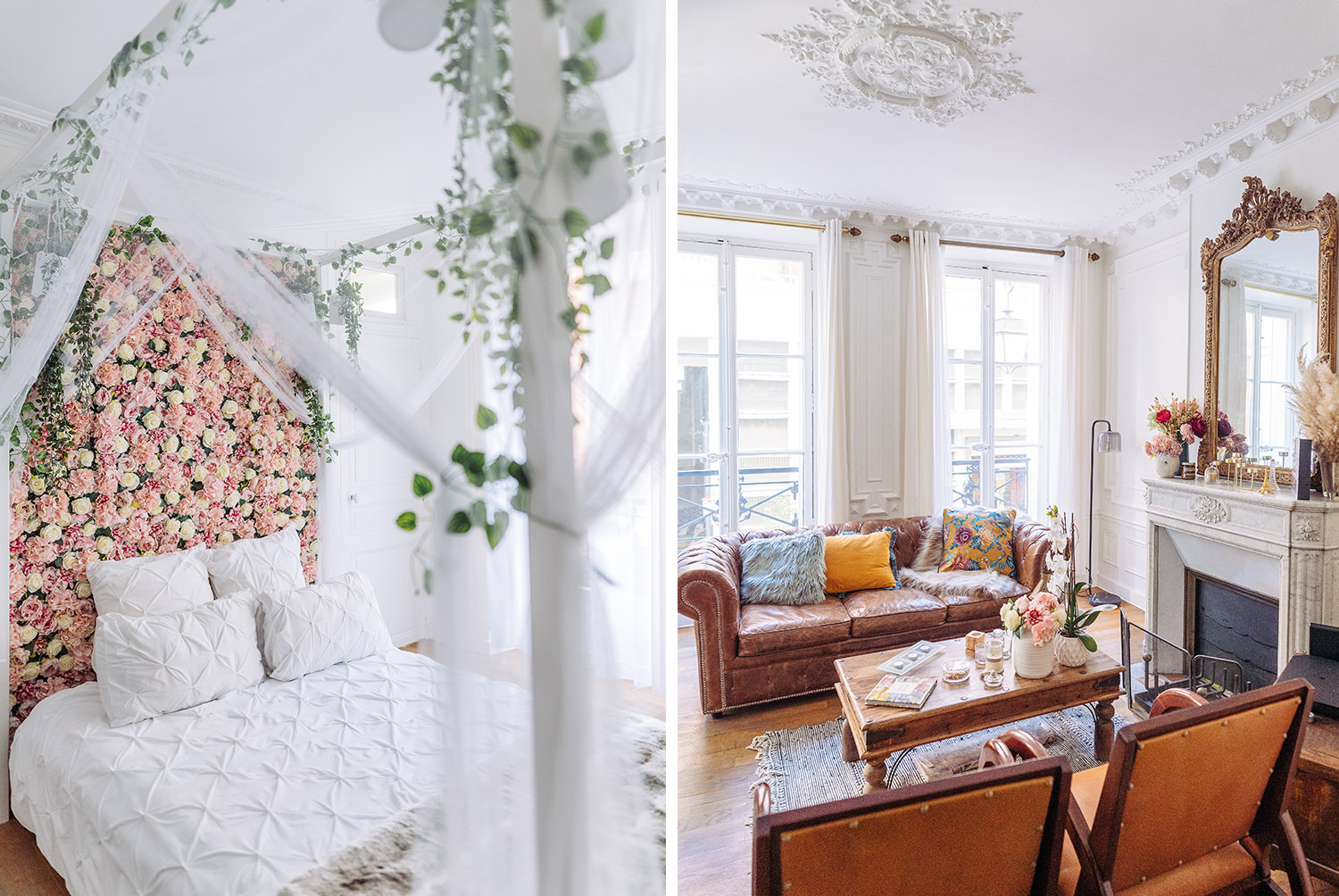 Paris boudoir photography studio by gloria villa boudoir photographer beautiful and airy bedroom with flower wall and living room with leather sofa and fireplace