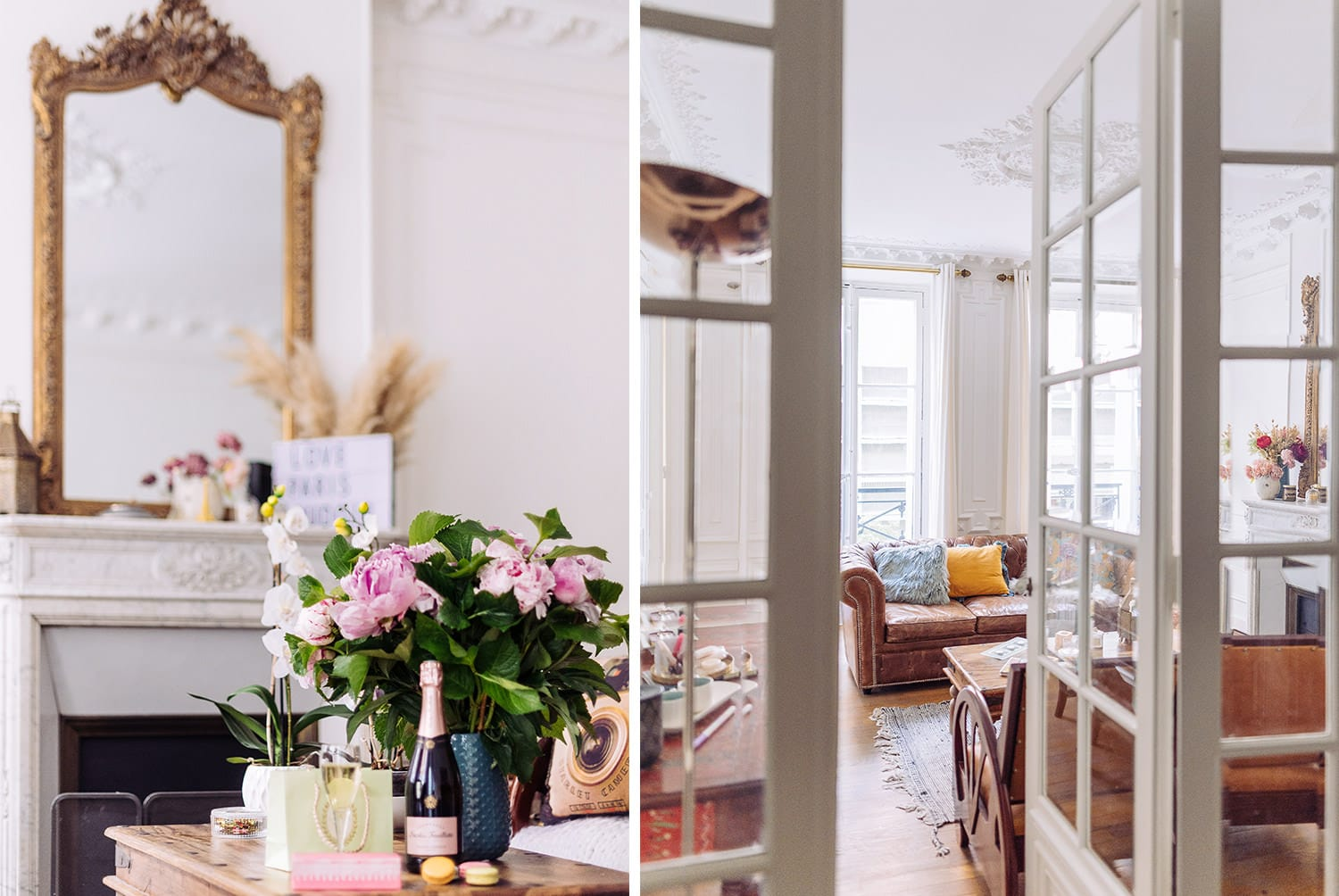 gloria villa paris boudoir photography  studio in the middle of le Marais with antique mirror, marble fire place and french doors