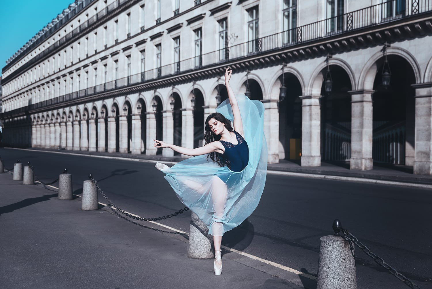 Beautiful ballerina dancing during her portrait and boudoir photoshoot in Paris by Gloria Villa Photographer